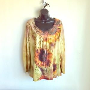 Chico Boho Top Gemstone Design Size XL NWOTS